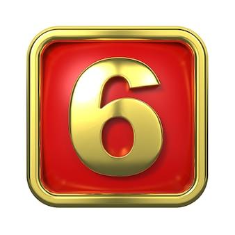赤い背景の上のフレームの金の数字。番号6
