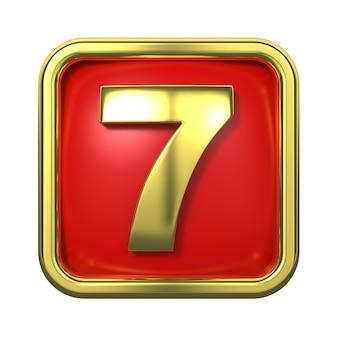 赤い背景の上のフレームの金の数字。番号7