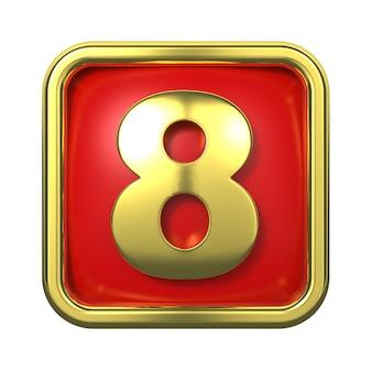 赤い背景の上のフレームの金の数字。番号8