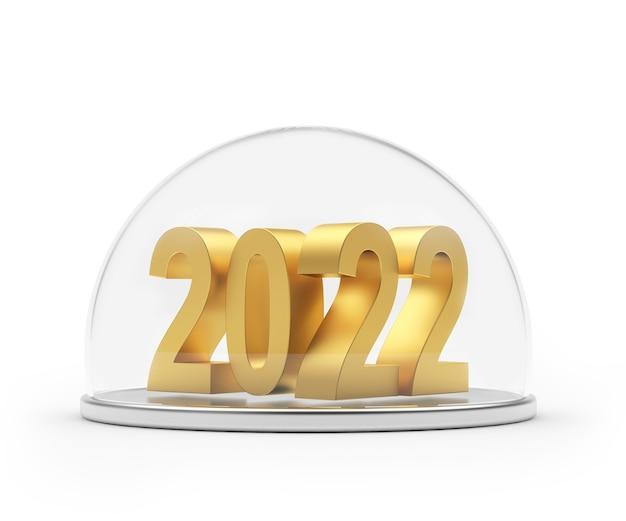 Золотая цифра нового года на подносе защищена прозрачной крышкой.