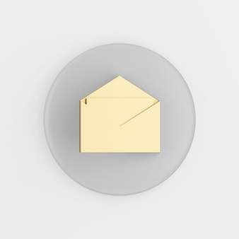 Gold open e-mail icon in flat style. 3d rendering gray round button key, interface ui ux element.
