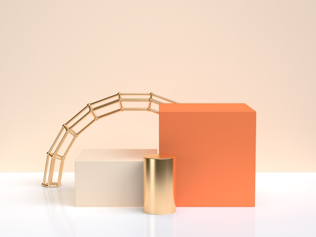 Gold orange shape form minimal abstract scene 3d rendering