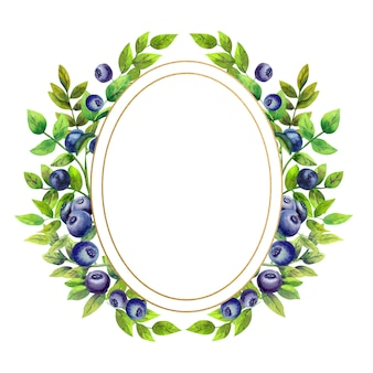 Gold oval round frame with watercolor flowers and blueberries