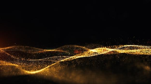 Золотые частицы искры анимация волна поток фон