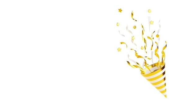 白で隔離の飛行紙吹雪3dレンダリングイラストとゴールドのパーティーポッパー。黄金の爆竹が蛇紋岩で爆発します-コーンポッパーとコピースペースのある誕生日と記念日のバナー。