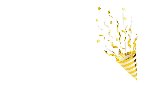 Gold party popper with flying confetti 3d render illustration isolated on white. golden firecracker explodes with serpentine - birthday and anniversary banner with cone popper and copy space.