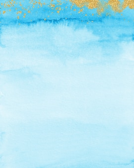 Gold & pastel blue watercolor background, soft blue texture