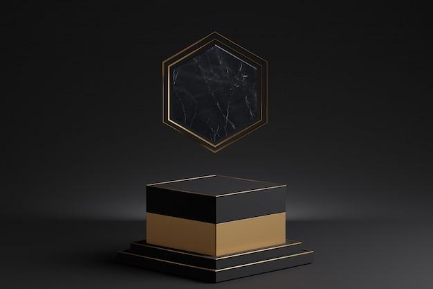 大理石の装飾が施された金の台座モックアップ