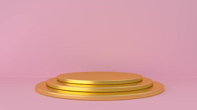 Gold pedestal and pink background.