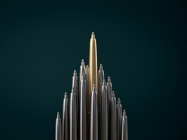 Gold pen standing out from chrome pens, standing out of the crowd concept. 3d rendering