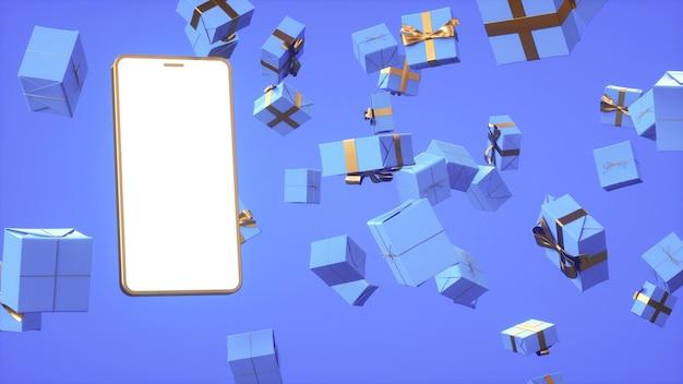 파란색 온라인 쇼핑 3d 렌더링에 있는 많은 선물의 배경에 대한 금 전화