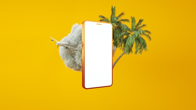 Золотой телефон с облаком, из которого взлетает самолет 3d рендеринг