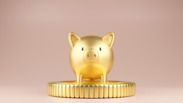 Gold pig staning on a gold coin Premium Photo