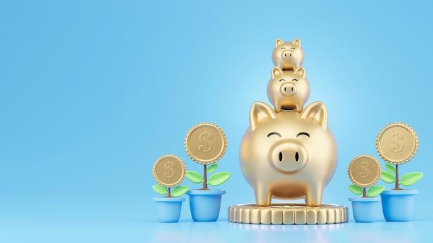 お金の概念を節約する金の貯金箱とコインツリー
