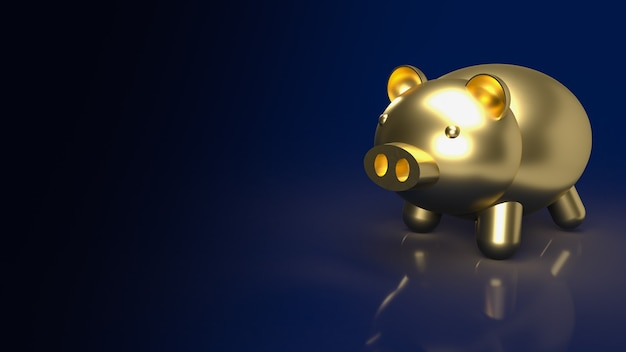 The gold piggy bank  for real estate or savings  concept  3d rendering