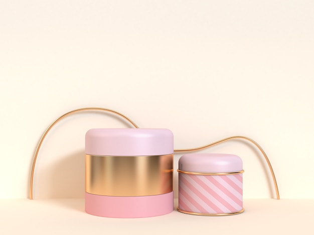 Gold pink abstract cylinder 3d rendering minimal blank scene