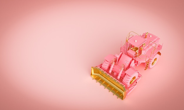 Gold and pink bulldozer on a pink background. 3d render.