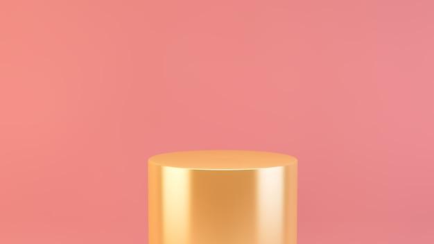 Золотая платформа на розовом фоне 3d-рендеринга