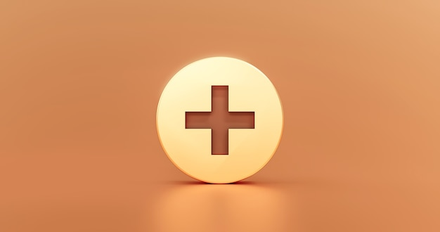 Gold plus icon sign and metallic cross illustration design add shape logo button or medical glossy first aid symbol concept on golden web background with addition modern graphic element. 3d rendering.