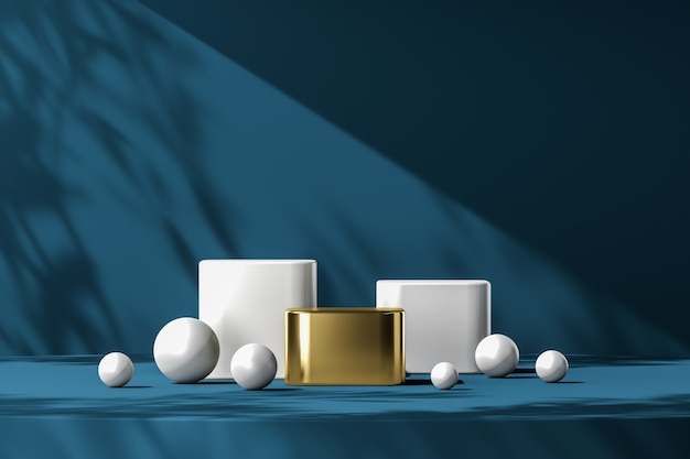 Gold podium among on many white objects, blue platform and plants shade on background, abstract background for product presentation or ads. 3d rendering