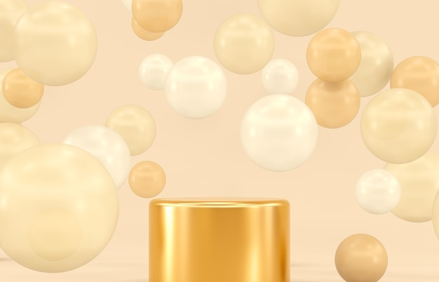 Gold podium backdrop for product display with balloons.