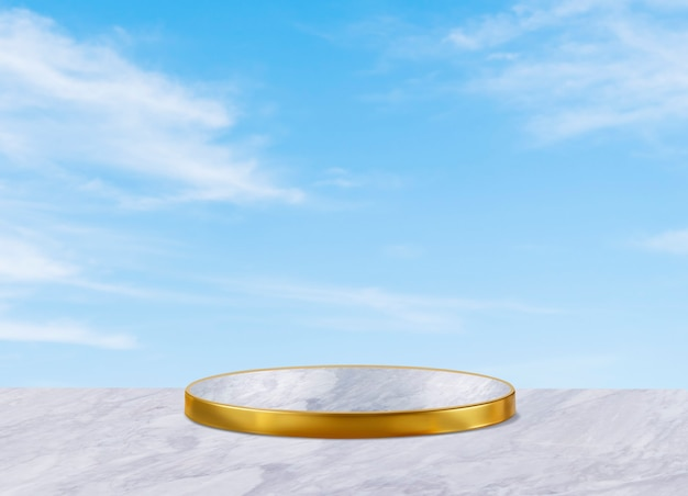 Gold podium background for cosmetic product