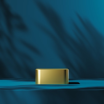 The gold podium on blue scene mockup plants shade on background, abstract background for product presentation or ads. 3d rendering