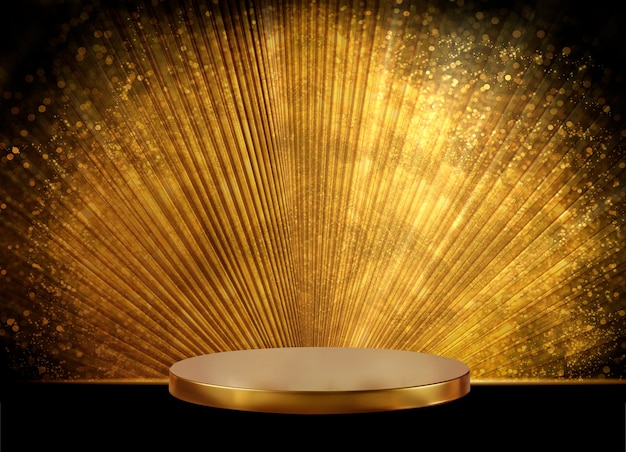 Gold podium and gold glitter background