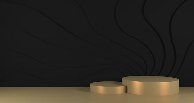 黒の壁の背景に金の表彰台