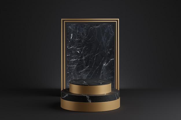 大理石の壁の装飾が施された金の表彰台のモックアップ