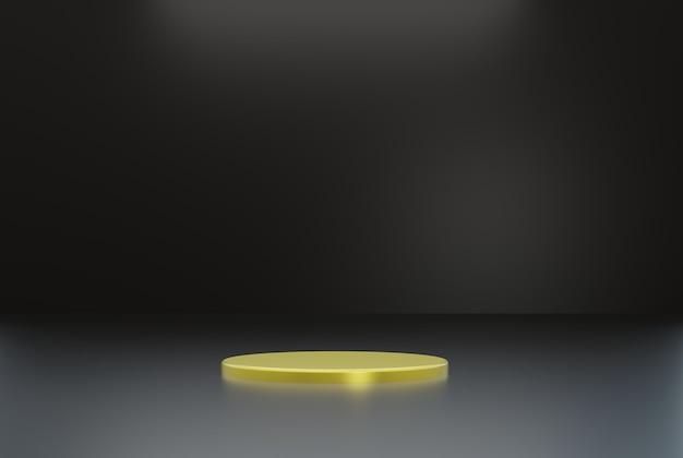 Золотой подиум с черным фоном для плаката флаера и т. д. 3d визуализации иллюстрации