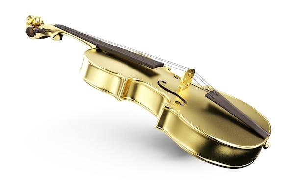 Gold polished violin on background. 3d rendering