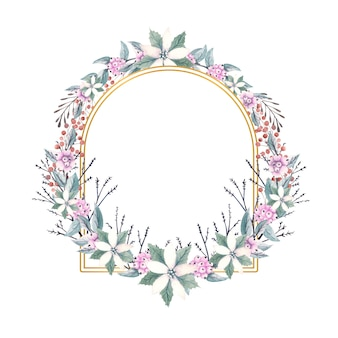 눈 열매와 포 인 세 티아 꽃의 수채화 sprigs와 골드 다각형 프레임.