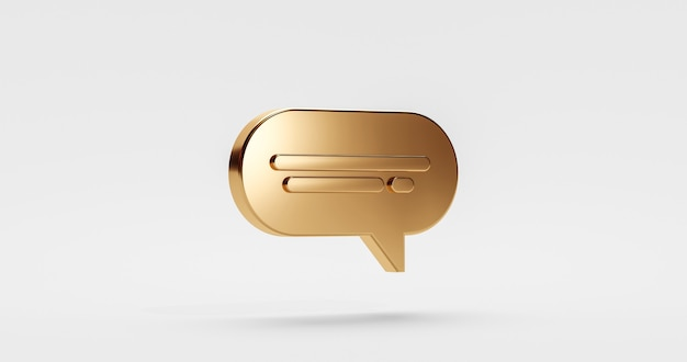 골드 프리미엄 채팅 아이콘 디자인 또는 온라인 메시지 기호 말풍선은 황금 대화 프리미엄 서비스 풍선으로 흰색 배경에 격리된 기호 및 연락처 통신을 이야기합니다. 3d 렌더링.
