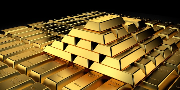 Gold price for website banner. 3d rendering of gold bars.