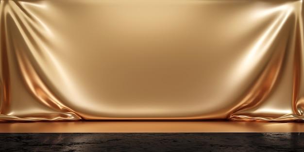 빈 배경으로 고급 광고 디스플레이에 골드 제품 배경 스탠드 또는 연단 받침대. 3d 렌더링.