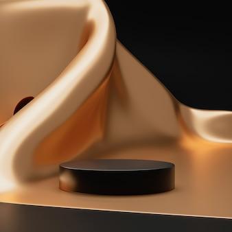 Золотая подставка для фона продукта или постамент подиума на роскошном рекламном дисплее с пустыми фонами. 3d-рендеринг.