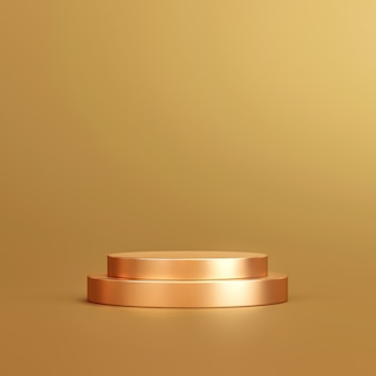 Gold product background stand or podium pedestal on golden display with luxury backdrops. 3d rendering.