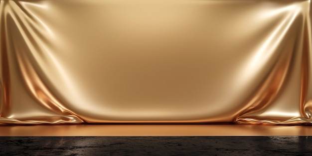 Gold product background stand or podium pedestal on luxury advertising display with blank backdrops. 3d rendering.