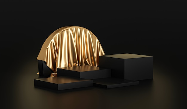 Gold product background stand or podium pedestal on luxury advertising display with blank backdrops.