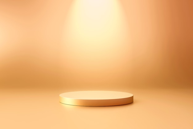 Gold product background stand or podium pedestal on promotional display with blank backdrops. .