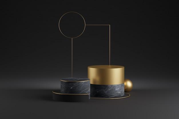大理石の装飾が施されたゴールド製品のショーケースモックアップ