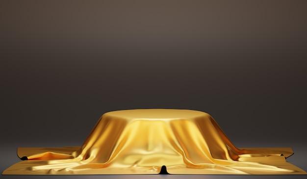 Золотая подставка для изделий с золотой тканью. фон для демонстрации продукта, 3d рендеринг