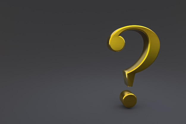 Gold question mark sign minimal on black background, 3d render, minimal and copy space
