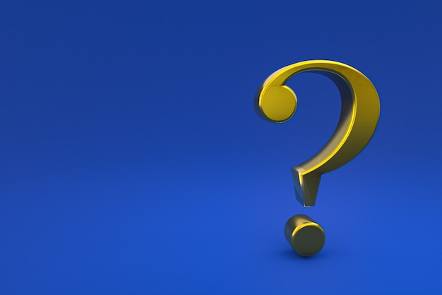 Gold question mark sign minimal on blue background, 3d render, minimal and copy space