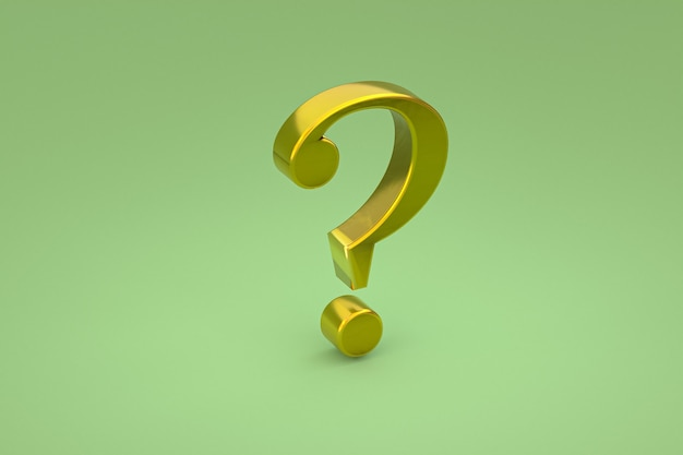 Gold question mark sign minimal on green background, 3d render, minimal and copy space