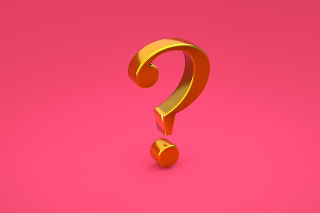 Gold question mark sign minimal on pink background, 3d render, minimal and copy space