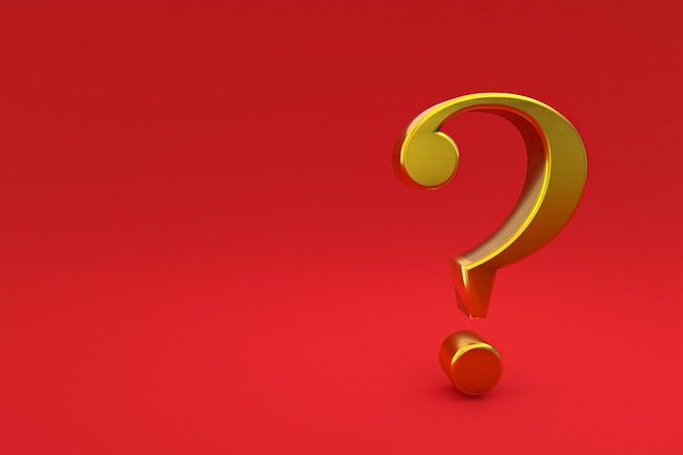 Gold question mark sign minimal on red background, 3d render, minimal and copy space