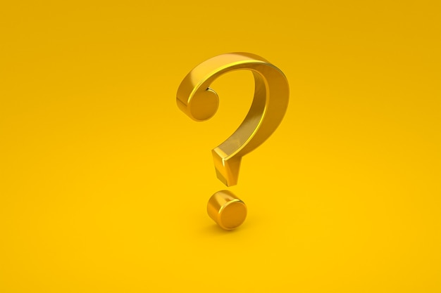 Gold question mark sign minimal on yellow background, 3d render, minimal and copy space