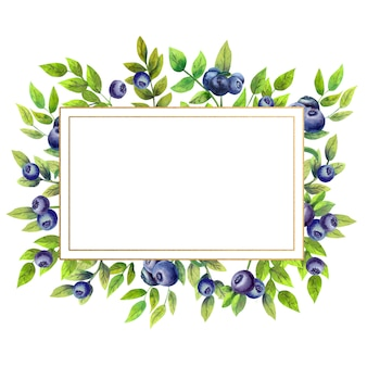 Gold rectangular frame with watercolor blueberries